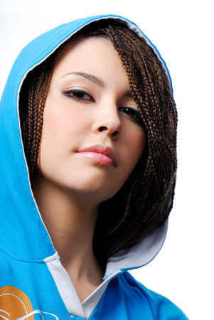 Portrait of young beautiful teen girl dressed in the blue hood photo