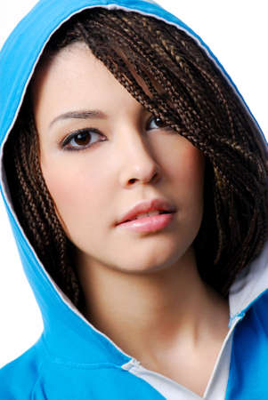 Attractive young teen urban girl dressed in the blue hood photo