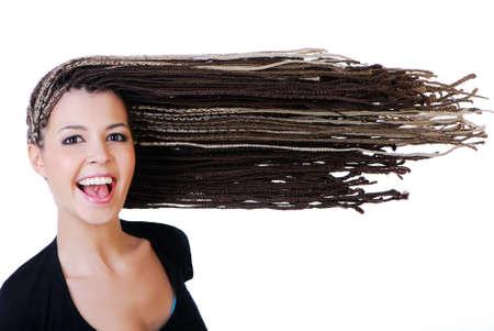 dreadlocks: Retrato de la hermosa chica riendo con dreadlocks grandes - aislados en blanco Foto de archivo
