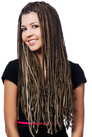 exotic woman: Portrait of beautiful happy girl with dreadlocks - isolated on white