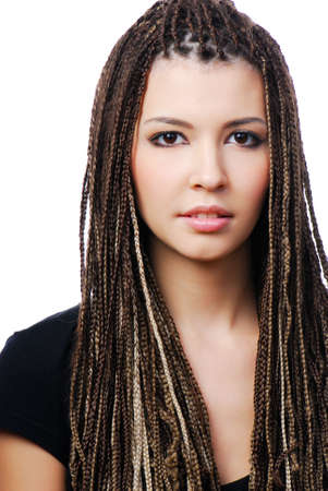 Portrait of young pretty woman with dreadlocks - on white