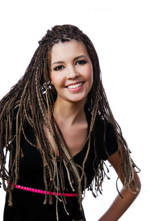 Happy young pretty girl with beauty dreadlocks photo