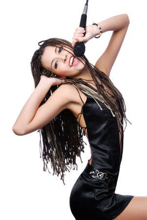 rocker girl: Hermosa mujer joven cantando con emociones expresive brillante Foto de archivo