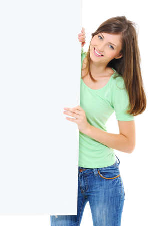 Woman look out from the white banner over white background photo