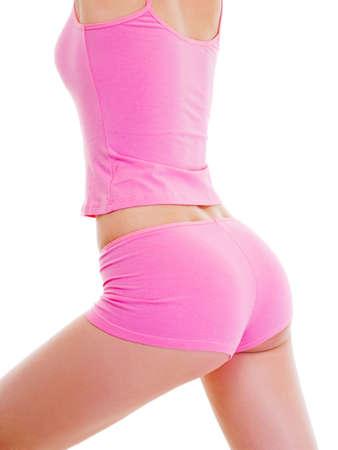 cintura perfecta: Cuerpo femenino perfecto aislado en blanco. Comer sano.