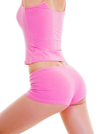 body shape: Perfetto corpo femminile isolata on white. Mangiare sano. Archivio Fotografico