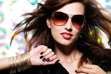 Portrait of beautiful glamour fashionable woman in sunglasses  photo
