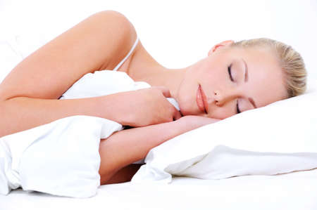 sweet dreams: Beautiful pretty sleeping woman cover the white blanket