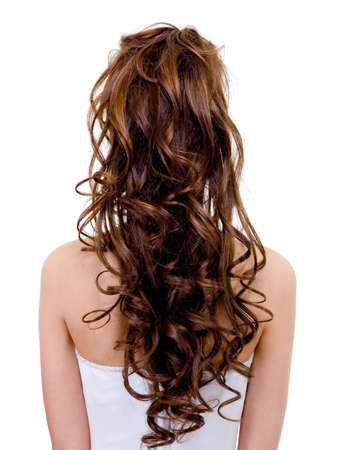 ringlet: Rear view of a bride with  curly wedding hairstyle - isolated on white