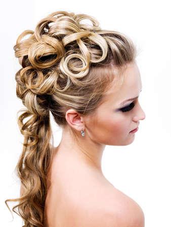wedding hairstyle: beauty wedding ringlet hairstyle, profile - isolated on white