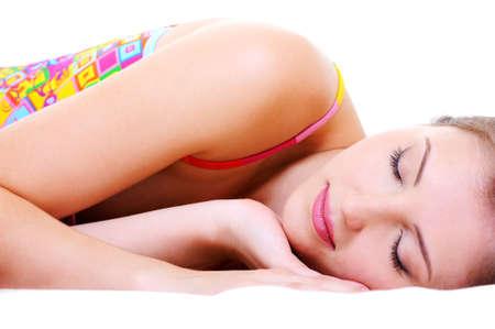 Close-up portrait of a beautiful cute resting female Stock Photo - 6614551