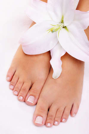 Beautiful well-groomed female feet with flower  Stock Photo - 6643036
