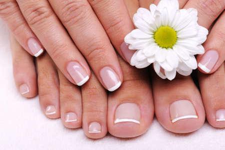 pedicura: Hermosos dedos femeninos well-groomed con flores