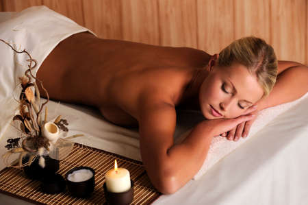 high angle: Young beauty female relaxing in spa salon - high angle view Stock Photo