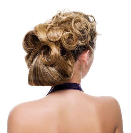 Beautiful wedding hairstyle - isolated on white Stock Photo - 6750491