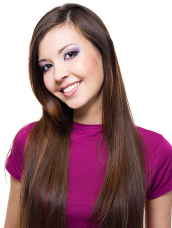 front teeth: Beautiful cheerful woman with long straight hair -   isolated on white