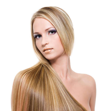 smooth: Young pretty woman with beautiful blond hairs