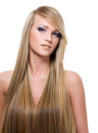 portrait of an attractive young woman with long straight blond hair photo