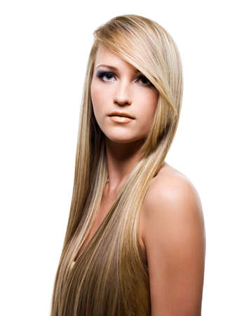 blonde hair: Young attractive woman with beauty long hair  - isolated on white