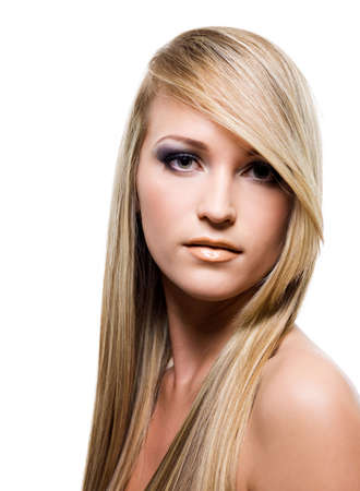 bangs: Close-up portrait of an Young attractive woman with beauty straight long blond hair