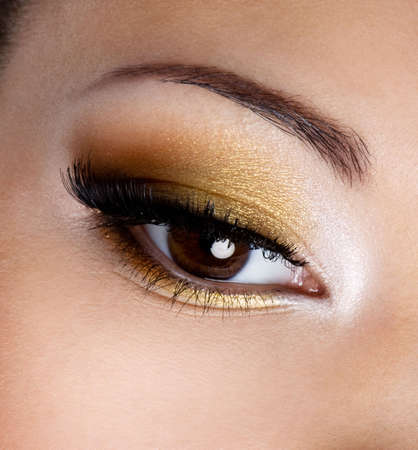 Modern fashion makeup of a female eye - macro shot