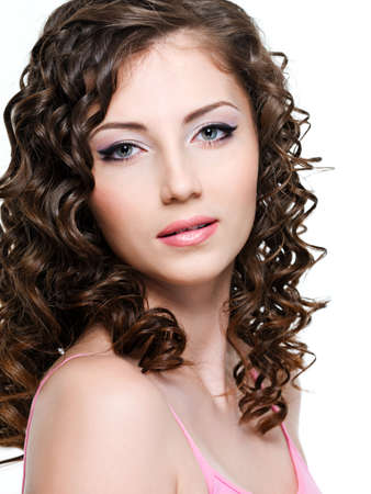 Close-up portrait of beautiful brunette woman with curly brown hair Stock Photo - 6808938