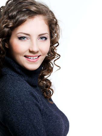 Portrait of happy cheerful beautiful woman in casuals photo