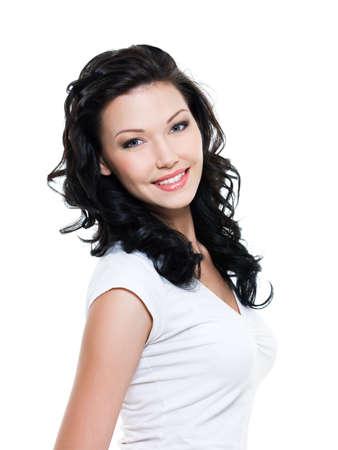 persona feliz:  Hermosa mujer feliz con sonrisa de tothy - sobre fondo blanco Foto de archivo