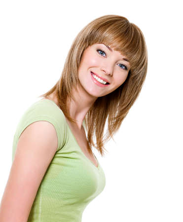 toothy: Beautiful young pretty woman with charming toothy smile