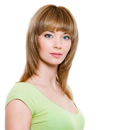 Beautiful blond woman with straight hair - white background photo