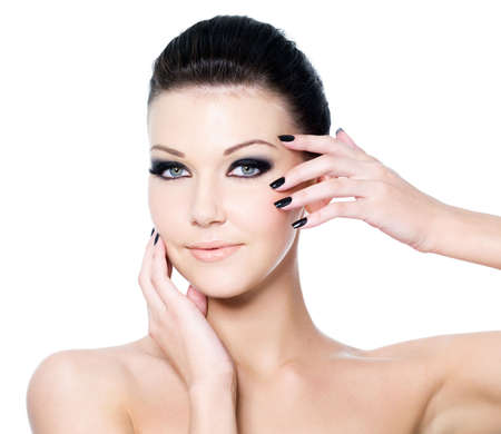 Portrait of a woman with Beautiful black eye make-up and beauty manicure Stock Photo - 6869960