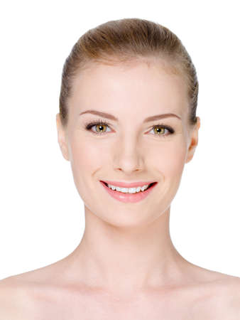 Close-up woman's face with clean fresh skin and beautiful smile - isolated Stock Photo - 7281582