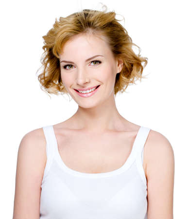 headshoot: Expression portrait of beautiful young cheerful woman with attractive smile - white background