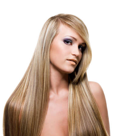bang: Adult adult  Girl with beauty long blond straight  hairs - over white background