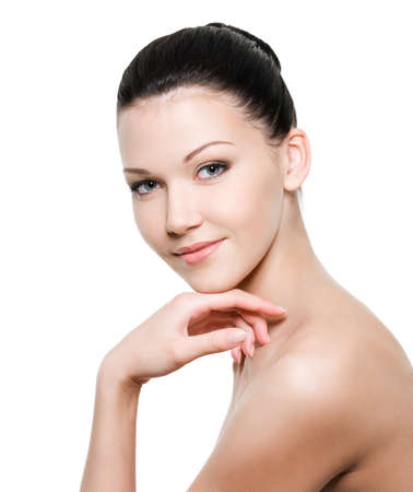 Beauty young woman with healthy skin - isolated on white Stock Photo - 7337510