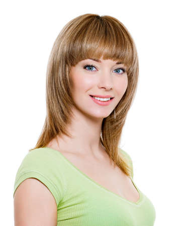 Portrait of beautiful blond smiling woman - close-up photo
