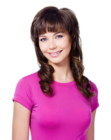 headshoot: Beautiful portrait of cheerful smiling young brunette woman in rose T-shirt - isolated