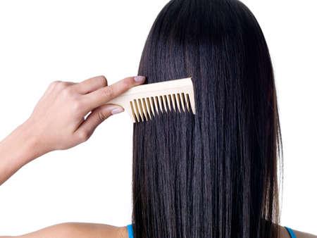 Pettinatura capelli lungo diritto femmina sani - primo piano