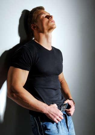 sexy guy: Beautiful sexy guy dreaming...  Stock Photo