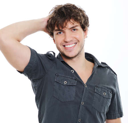 toothy: Happy cheerful sexy guy with charming toothy smile