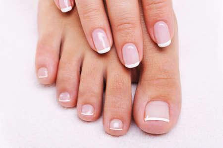 pedicure: Bellezza chiodi il concetto di una mano femmina e piedi con bella french manicure e pedicure  Archivio Fotografico