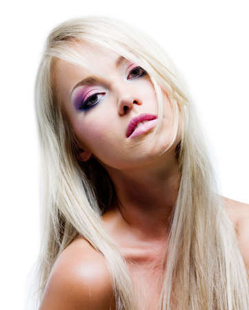 Beautiful face with satured colors of make-up and straight long hair Stock Photo - 7424740