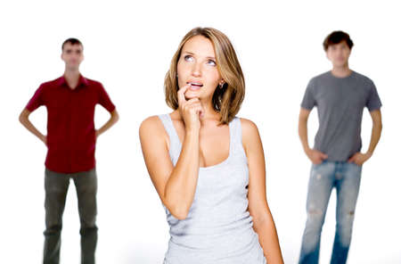 Young woman choose from two young men  - isolated