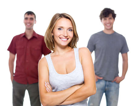 The girl and two young men on a white background  photo