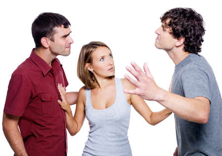 couple arguing: Two agressive men fight for the woman - isolated over white background Stock Photo
