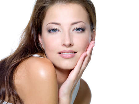 nude woman sexy: Face of a sexy beautiful young woman with clean skin on a white background