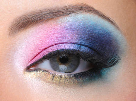 Beautiful bright fashion makeup of female eye - macro shot Stock Photo - 7524944