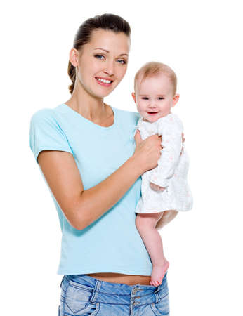 Portrait of a beautiful young mother with sweet newborn child Stock Photo - 7525034