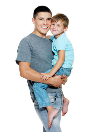 Happy portrait of the father and son of six years. Isolated on white Stock Photo - 7608209