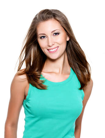 young female: Beautiful smiling young woman with long straight hair Stock Photo